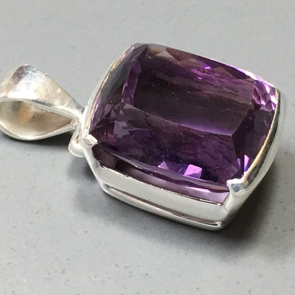 Big Luxury Amethyst Pendant - Faceted Rectangle on Sterling