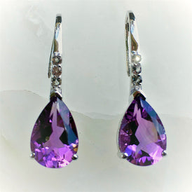 Amethyst Earrings with White Sapphires on Sterling, Filigree French Hooks