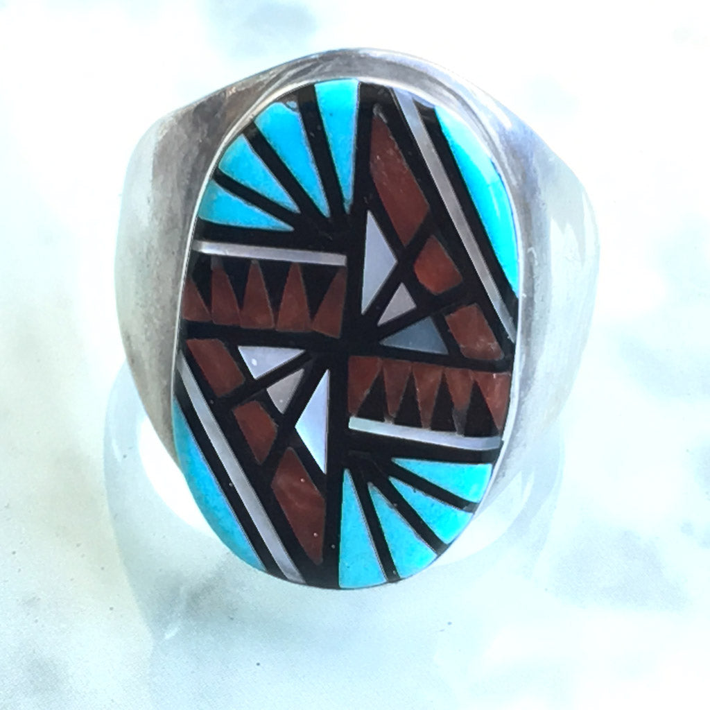 "Big Zuni ""Four Directions"" vintage ring by Angelena Laahty"