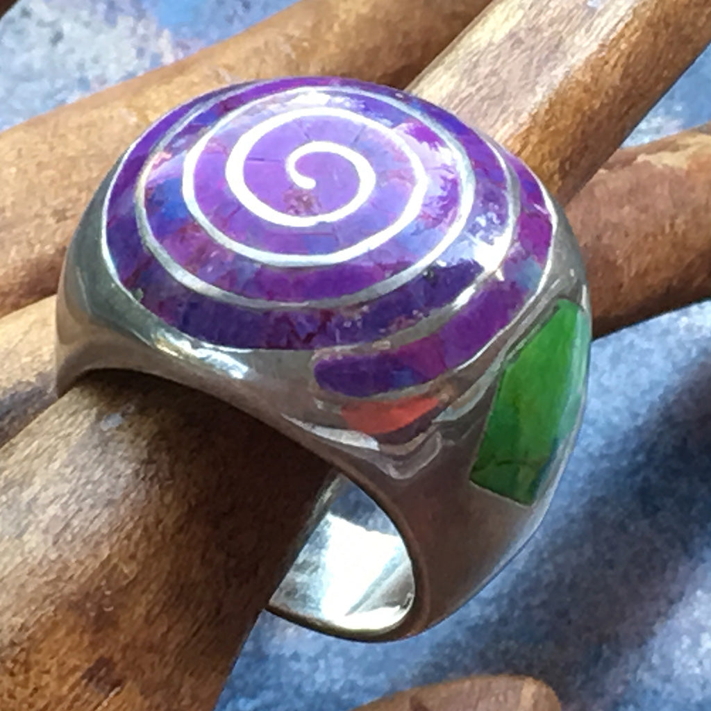 Dramatic Spiral Chunky Ring - Mystic design Purple Green gemstone inlay