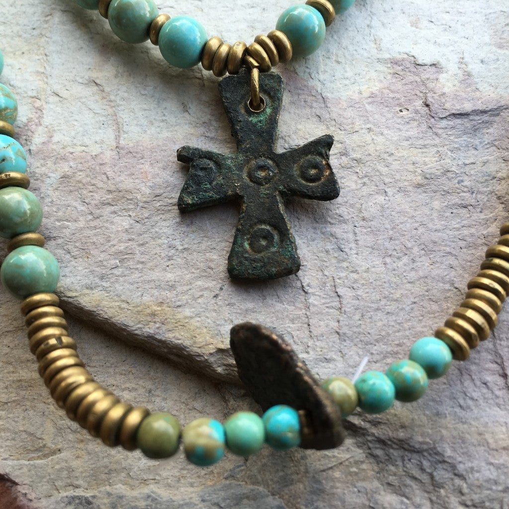 Anzient Bronze Byzantine Cross Pendant 1000 years old - turquoise beads necklace