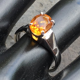 Brilliant Citrine Ring - natural gemstone Sterling Silver