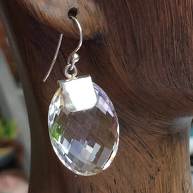 Elegant Faceted Clear Quartz Crystal Earrings - brilliant rainbows!
