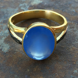 Vibrant BLUE CHALCEDONY Gold filled Sterling Silver ring