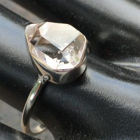 Delicate Herkimer Diamond Ring with natural gemstone