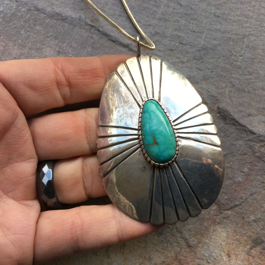 IMPRESSIVE Vintage NAVAJO CONCHO PENDANT - Turquoise Sterling Native American