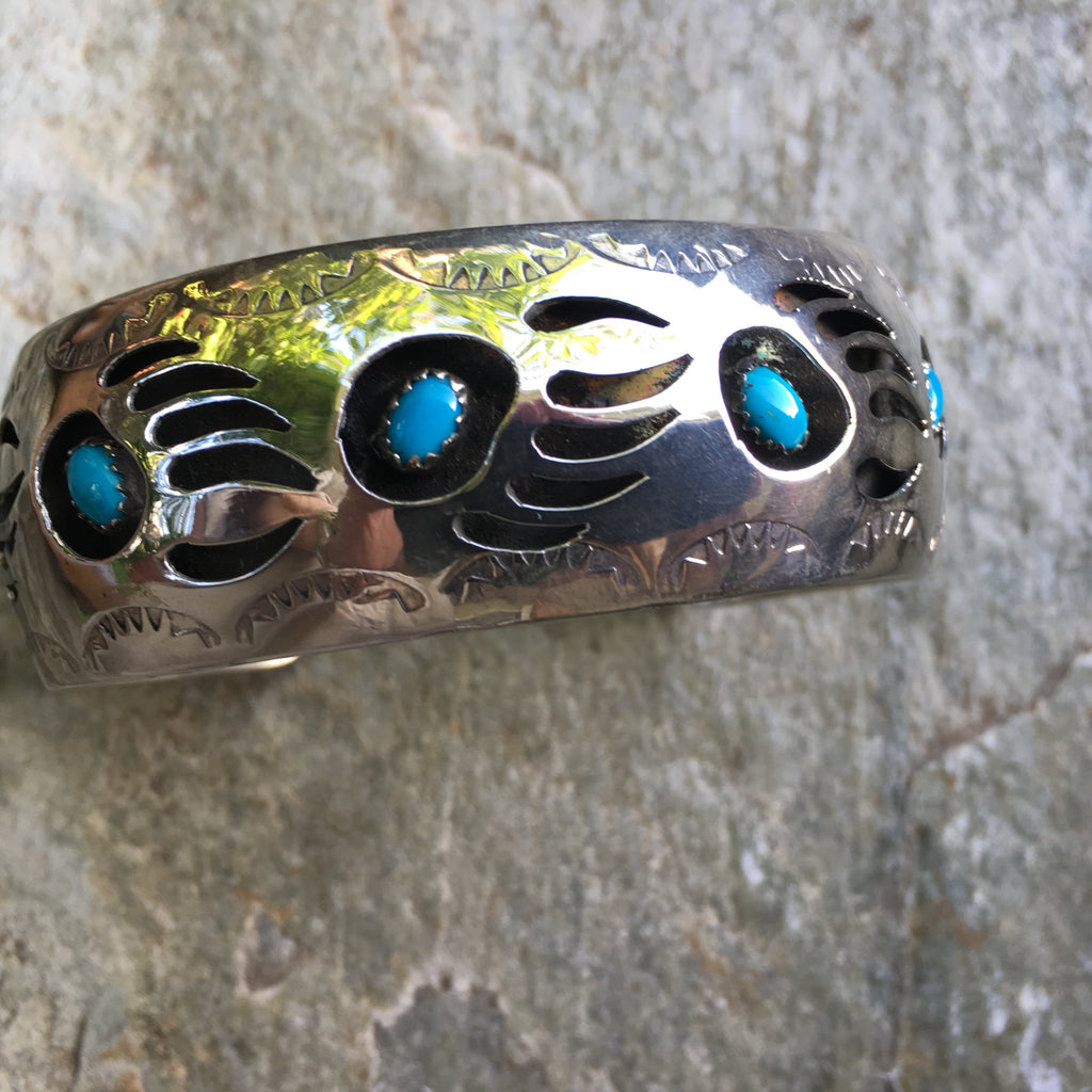 Big Traditional Navajo Bear-Claw Cuff Bracelet with Turquoise, shadowbox style