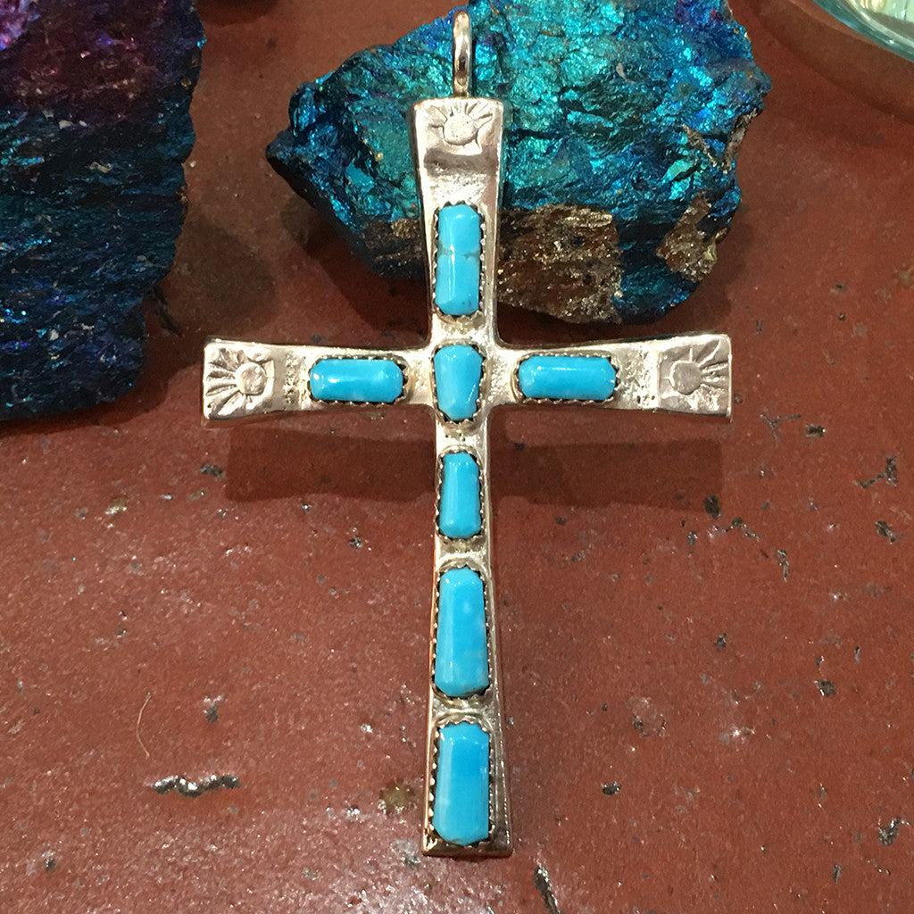 Large Zuni cross pendant by IULE -  turquoise & sterling silver