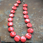 Kazuri Bead Necklace from Kenya - Handmade Fair Trade - Coral Orange Ceramic, Womens workshop
