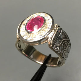 Fancy RUBY & White Sapphire Ring - engraved Sterling Silver - botanical motif