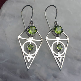 AWESOME Natural PERIDOT Gemstone Earrings SACRED GEOMETRY - Sterling Silver