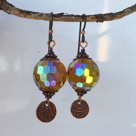 Crystal Rainbow Earrings - amber & copper - Texas artist - GORGEOUS - OZKIVA Vision Gallery
