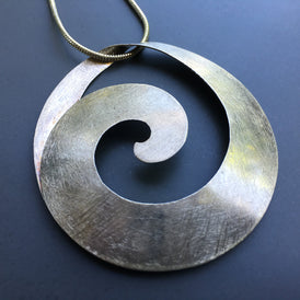 Taxco Mexican Spiral Modernist Pendant in brushed Sterling - Organic Beauty!