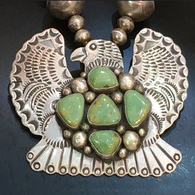 Large Dramatic Navajo Vintage Thunderbird Necklace - Sacred Eagle, Green Turquoise