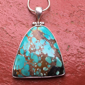 Triangular Turquoise Pendant - natural stone mined in American West, Sterling
