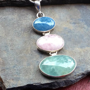 Triple Beryl Pendant with 3 Oval Beryl Gemstones, Sterling Silver