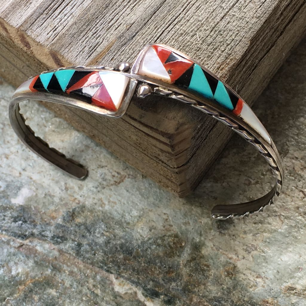 Delicate Vintage ZUNI Native American Cuff Bracelet - Multi Gemstone Inlay