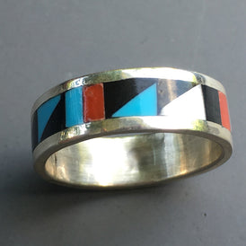 Zuni Native American traditional Inlay Band Ring - Multi Gemstone Sterling turquoise Coral