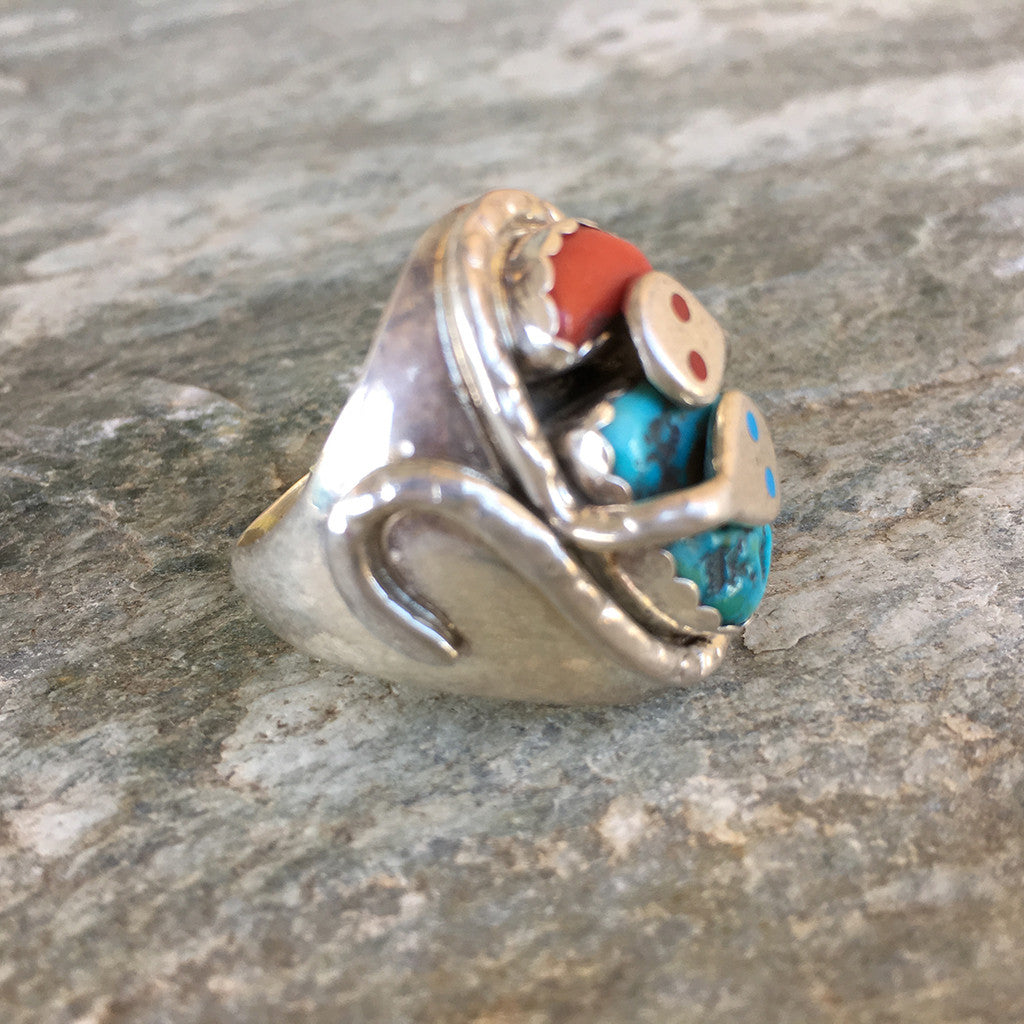 Vintage Snake Totem Ring by Effie Calavaza, Zuni -1980s Silver, Turquoise & Coral - OZKIVA Vision Gallery