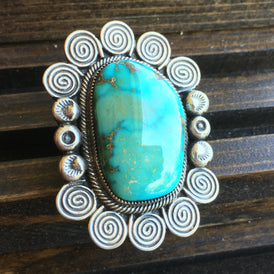 Large Ornate Navajo Ring - Sea-Green Turquoise - Vintage Signed Sterling, Dramatic!