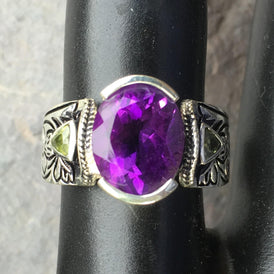 Exquisite Purple Amethyst Ring w/ Peridot - Natural Stones Sterling size 8