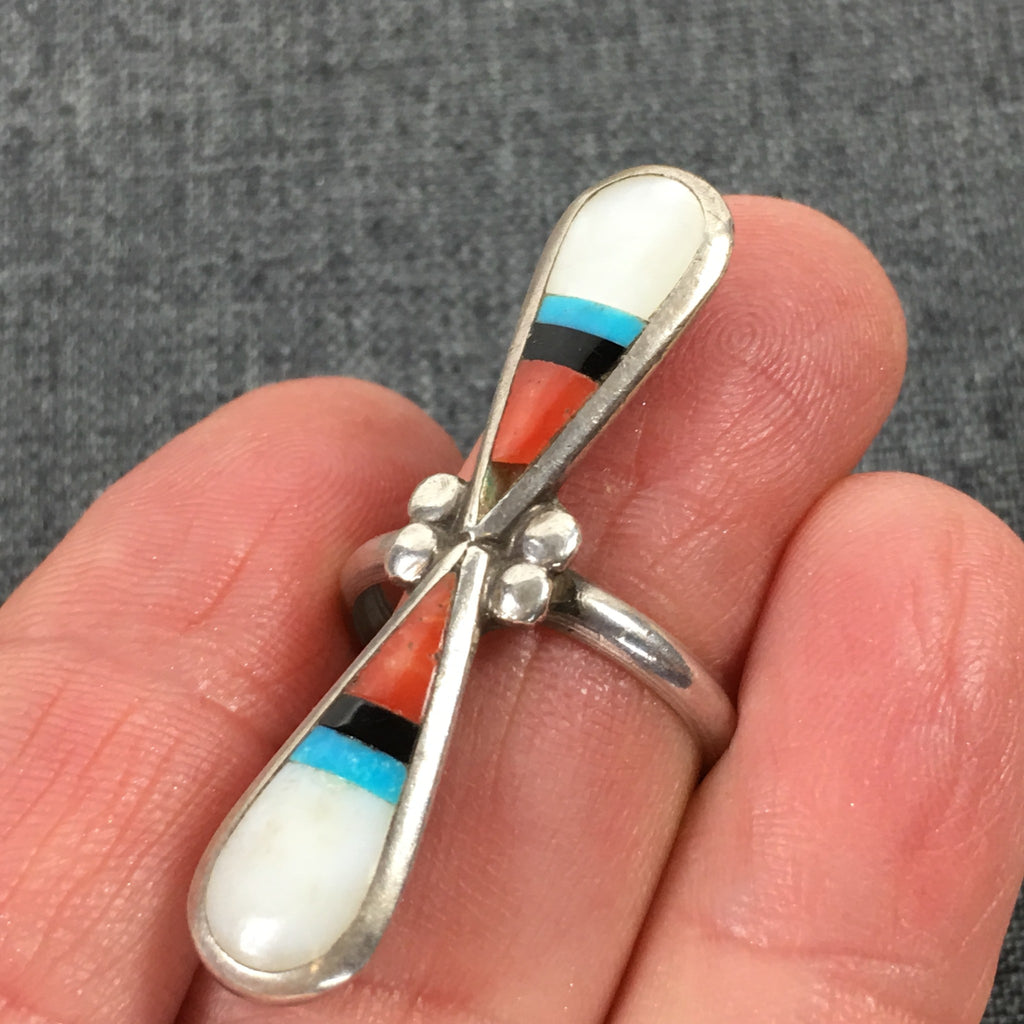 Vintage Navajo Zuni Ring - Long Turquoise Coral Sterling Pawn, Native American SOUL