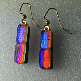 DICHROIC ART GLASS EARRINGS - Multicolour Handmade in Mexico