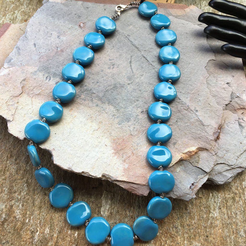 KAZURI BEAD NECKLACE KENYA Fair Trade - Handmade Chunky Turquoise Ceramic Africa