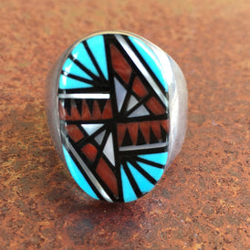 Big Zuni Sterling Silver Inlay Ring by Angelena Laahty - vintage - OZKIVA Vision Gallery