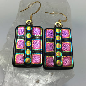 Mexican Dichroic Glass Earrings, shimmering gold & magenta WILD! - OZKIVA Vision Gallery