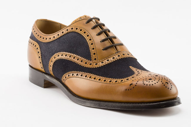Cheaney Edwin Oxford Brogue Two Tone in Chestnut & Navy Suede
