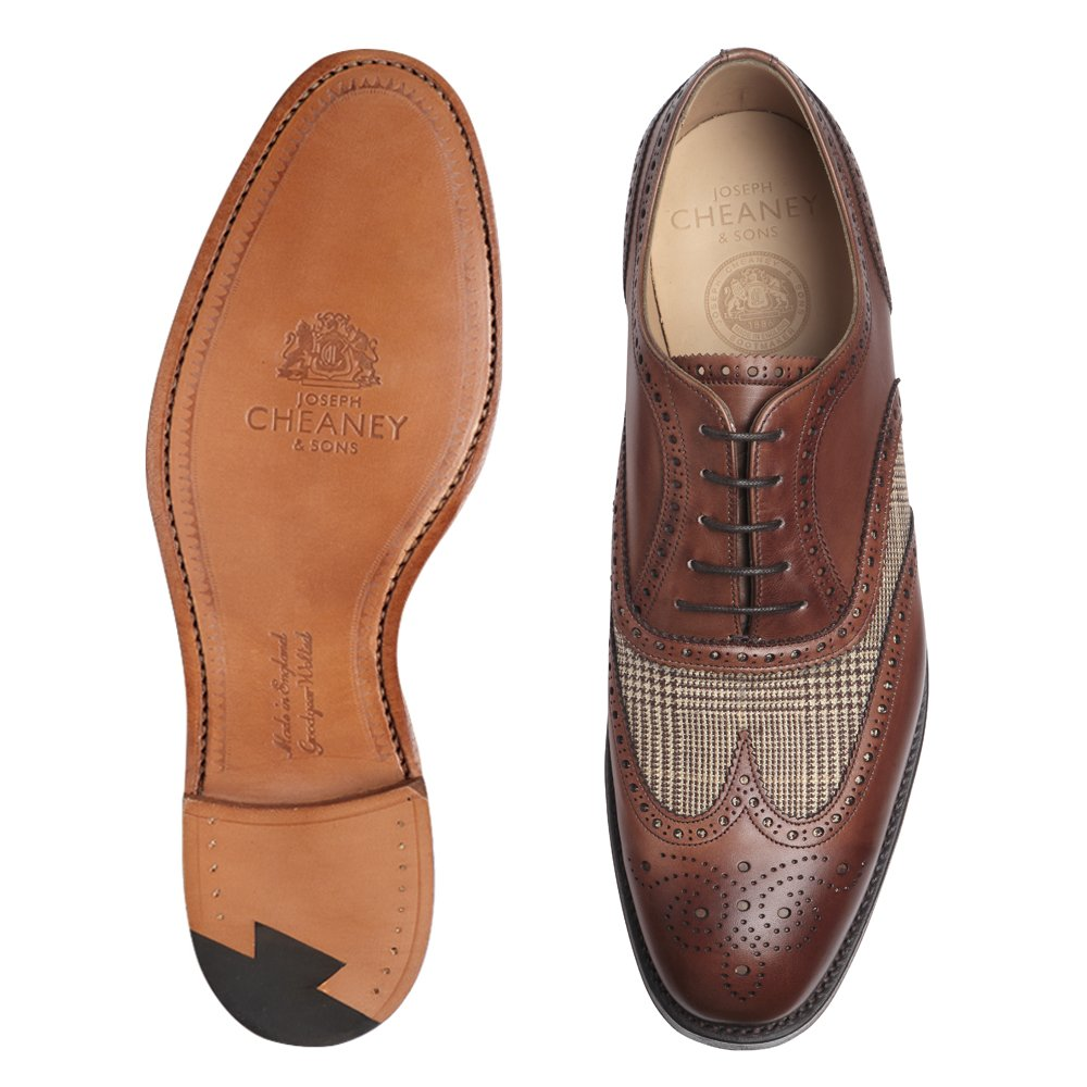 Cheaney Ernest Two Tone Oxford Brogue in Conker & Dean Check