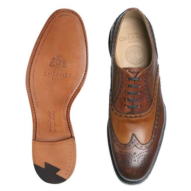 Cheaney James II Wingcap Brogue in Conker, Chestnut & Dark Leaf Calf Leather