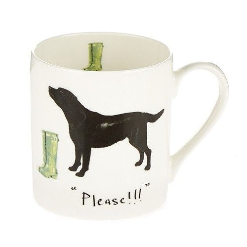 Black Labrador and Welly Mug
