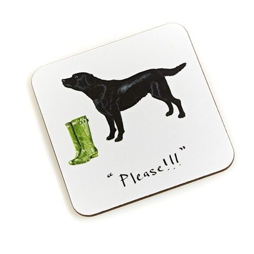 """Please!"" Black Labrador Coaster"