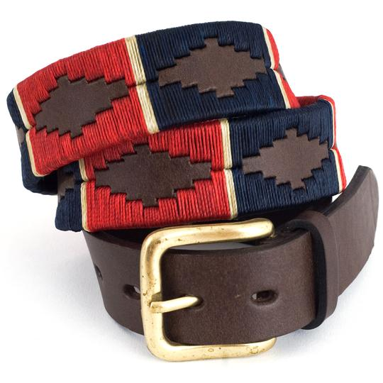 Red / Navy / Cream Stripe Polo Belt