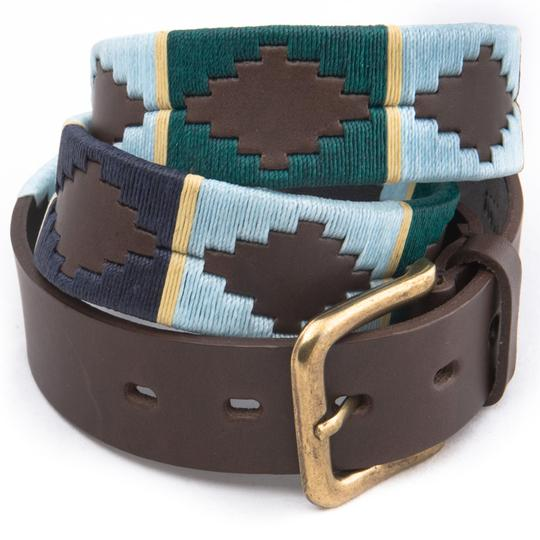 Green / Pale Blue / Navy / Cream Stripe Polo Belt