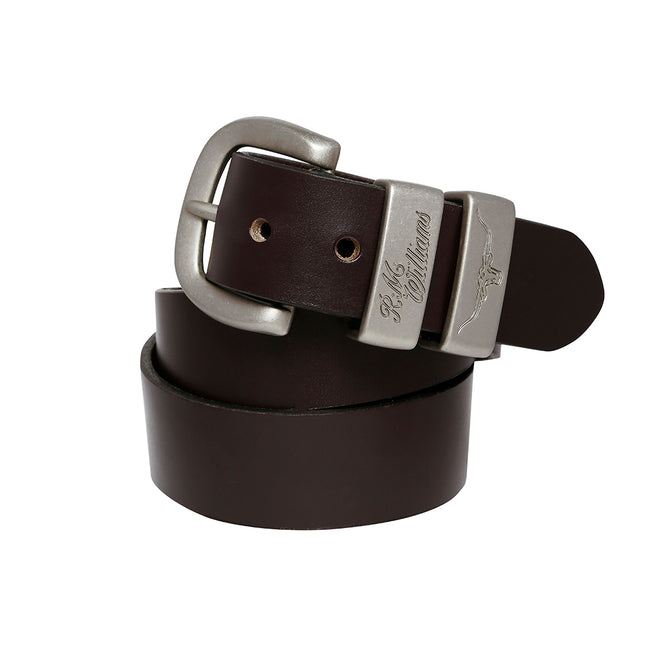 "R.M.Williams 1 1/2"" 3 Piece Solid Hide Belt in Chestnut"