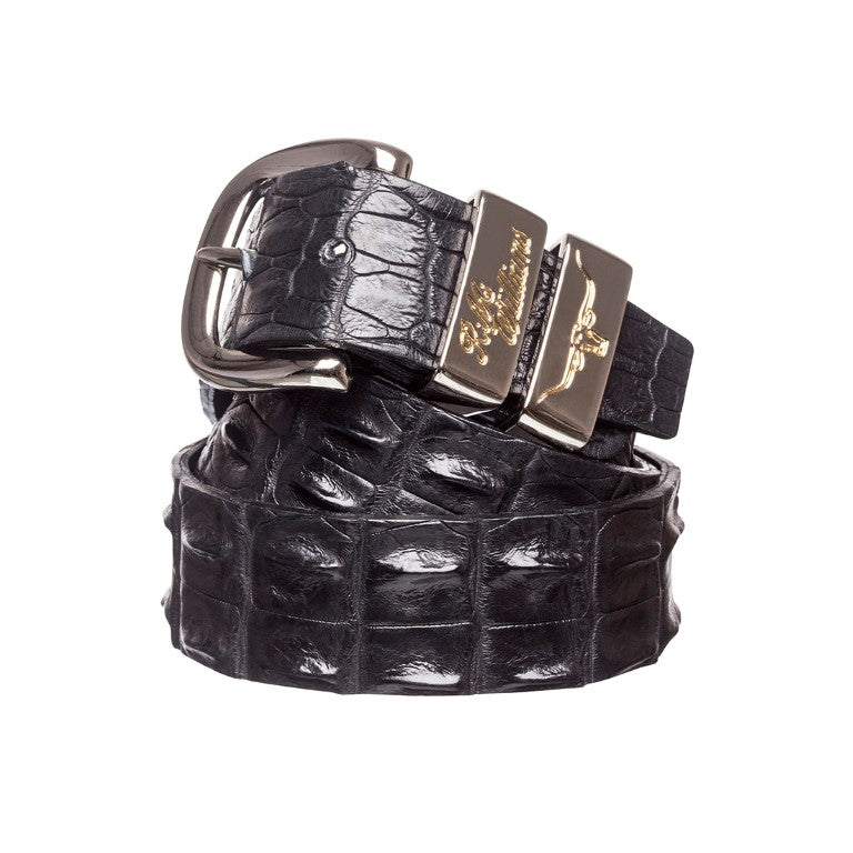 R.M.Williams Saltwater Crocodile Belt in Black