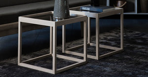 Cube Table, røket eik/Pietra grey marmor