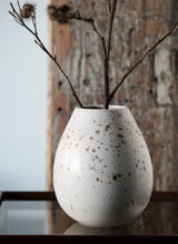 Load image into Gallery viewer, Milo Drop Vase, White with spots