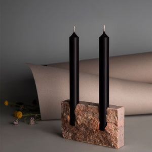 Snug candle holder: Red travertine - RAW