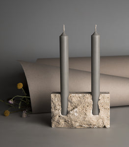 Snug candle holder:Bone white travertine - RAW