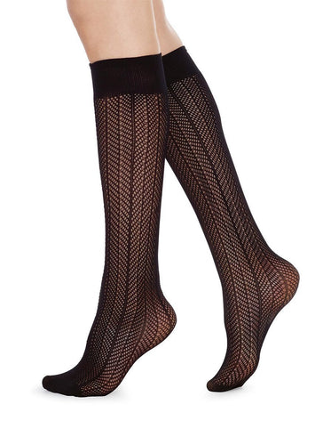 Swedish Stockings, Astrid net Knee-high Black OZ