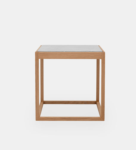 Cube Table oak /light grey Portland marmor