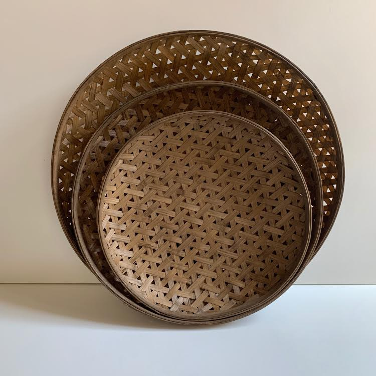 Round Woven Bamboo Basket- 22 1/2