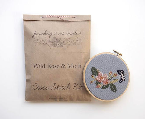 Wild Rose & Moth Cross Stitch Kit
