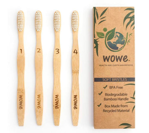 Adult Bamboo Toothbrushes- 4 pack