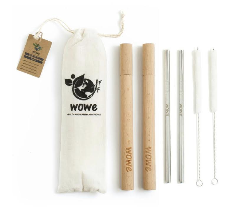 Stainless Steel Straw with Wood Travel Case- 2pack