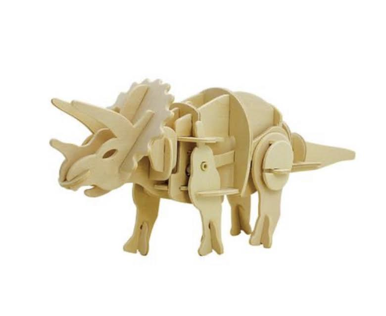 Dinoroid Triceratops Walking Wooden 3D Puzzle Kit